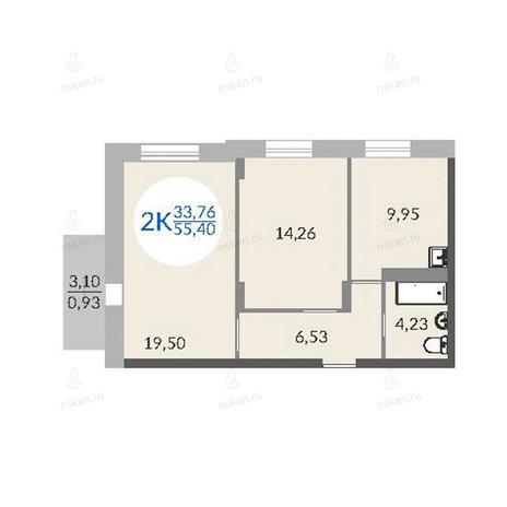 Вариант №1078, 2-комнатная квартира в жилом комплексе Красный проспект 163/6