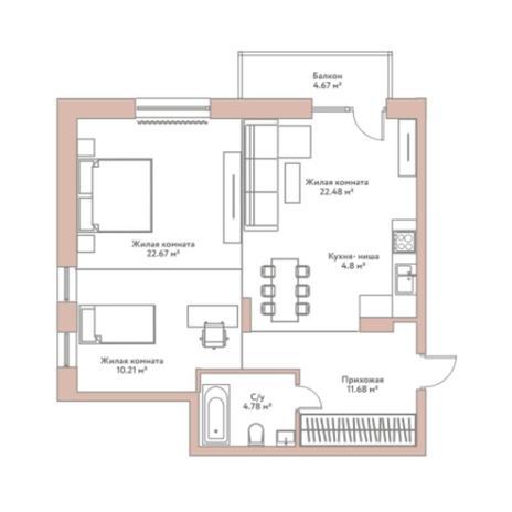 Вариант №5969, 3-комнатная квартира в жилом комплексе