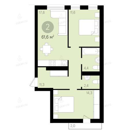 Вариант №2663, 3-комнатная квартира в жилом комплексе Европейский Берег
