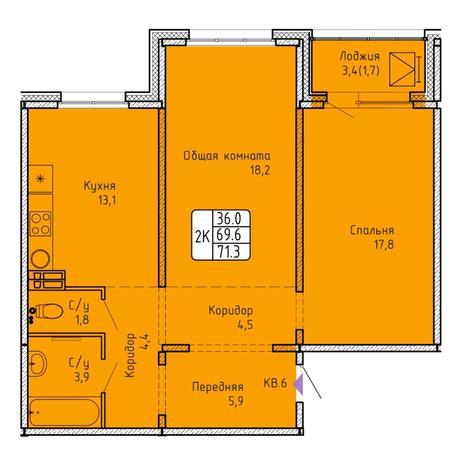 Вариант №5755, 2-комнатная квартира в жилом комплексе Матрешкин двор
