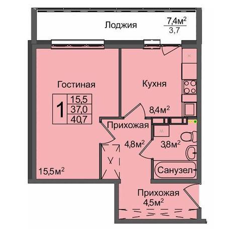 Вариант №3900, 1-комнатная квартира в жилом комплексе Акварельный 3.0