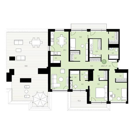 Вариант №4697, 4-комнатная квартира в жилом комплексе Европейский Берег