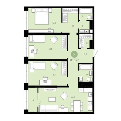 Вариант №4845, 4-комнатная квартира в жилом комплексе Европейский Берег