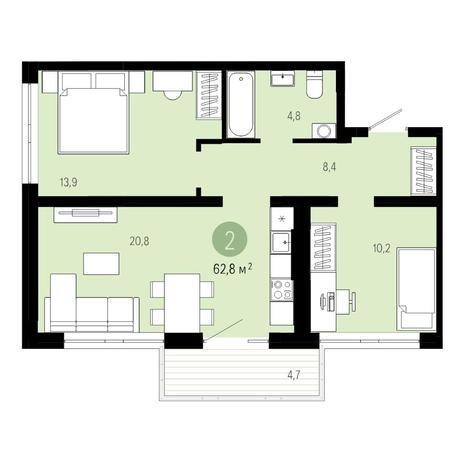 Вариант №4804, 3-комнатная квартира в жилом комплексе Европейский Берег