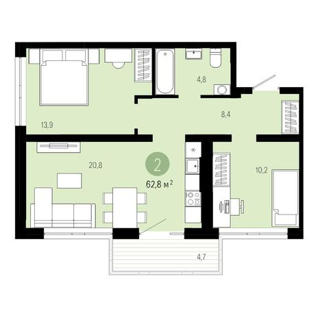 Вариант №4804, 3-комнатная квартира в жилом комплексе