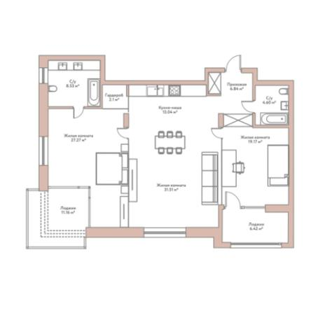 Вариант №5968, 3-комнатная квартира в жилом комплексе