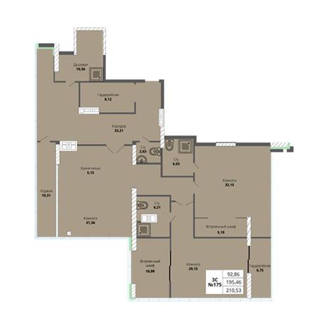 Вариант №2980, 4-комнатная квартира в жилом комплексе