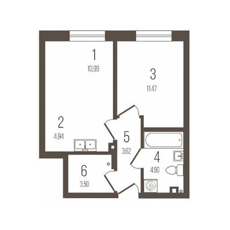 Вариант №3644, 2-комнатная квартира в жилом комплексе История