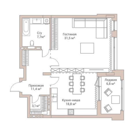 Вариант №3569, 2-комнатная квартира в жилом комплексе Flora & Fauna