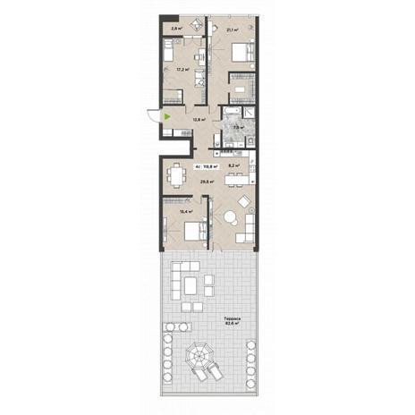 Вариант №5865, 4-комнатная квартира в жилом комплексе