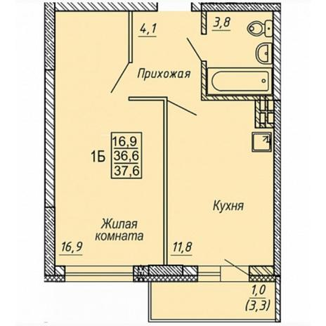 Вариант №5324, 1-комнатная квартира в жилом комплексе