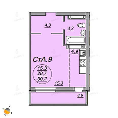 Вариант №2212, 1-комнатная квартира в жилом комплексе