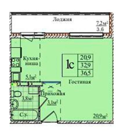 Вариант №5799, 1-комнатная квартира в жилом комплексе