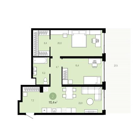 Вариант №6277, 3-комнатная квартира в жилом комплексе