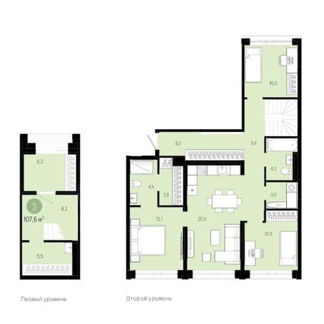 Вариант №6027, 4-комнатная квартира в жилом комплексе