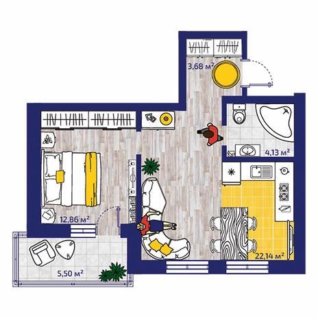 Вариант №4378, 2-комнатная квартира в жилом комплексе Заельцовский