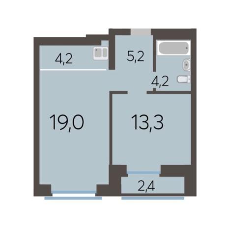 Вариант №5781, 2-комнатная квартира в жилом комплексе