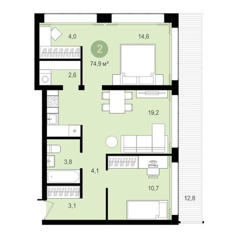 Вариант №4268, 3-комнатная квартира в жилом комплексе Пшеница