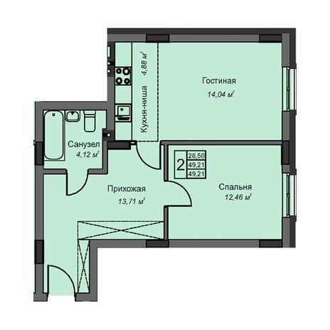 Вариант №3078, 2-комнатная квартира в жилом комплексе На Народной