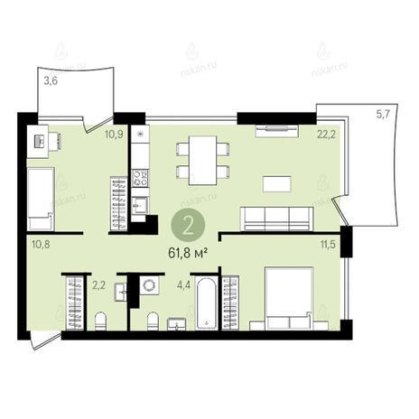 Вариант №2592, 3-комнатная квартира в жилом комплексе Квартал на Никитина