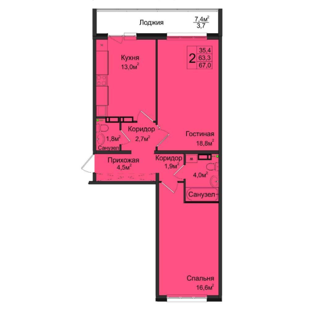 Планировка 2-комнатная площадью 67 м<sup>2</sup> в ЖК Венеция