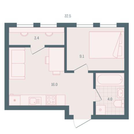 Вариант №5944, 1-комнатная квартира в жилом комплексе