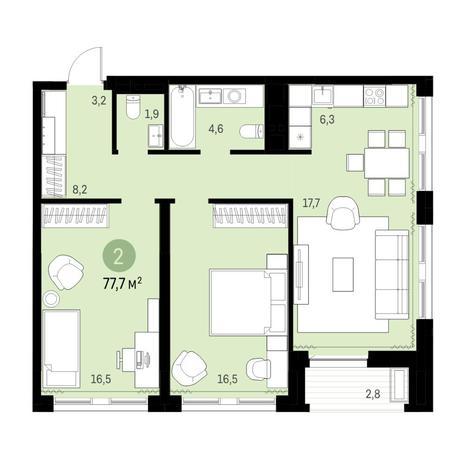 Вариант №6322, 3-комнатная квартира в жилом комплексе
