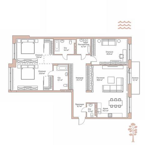 Вариант №2886, 4-комнатная квартира в жилом комплексе Flora & Fauna