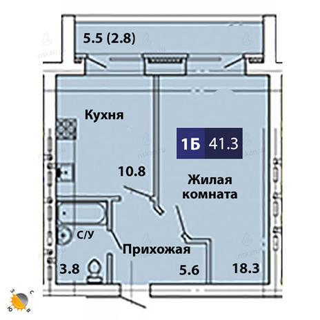 Вариант №1831, 1-комнатная квартира в жилом комплексе
