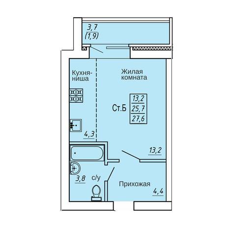Вариант №4363, 1-комнатная квартира в жилом комплексе