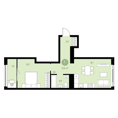 Вариант №4653, 2-комнатная квартира в жилом комплексе Бавария