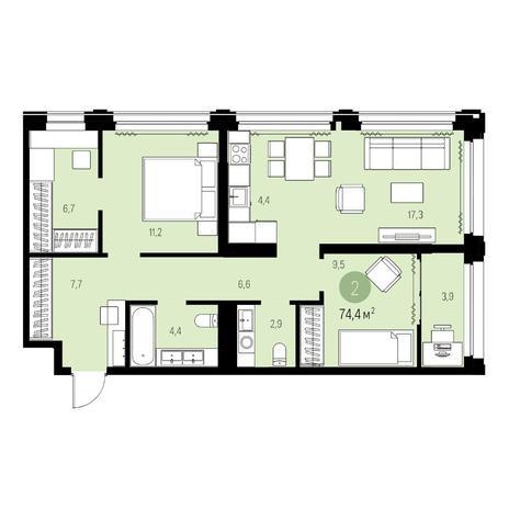 Вариант №5455, 3-комнатная квартира в жилом комплексе Нобель
