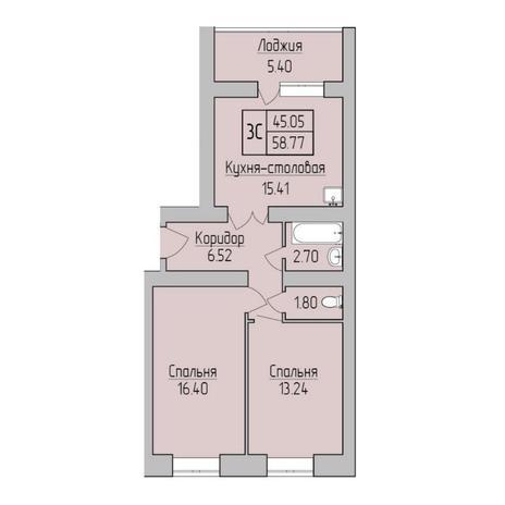 Вариант №5362, 3-комнатная квартира в жилом комплексе Радуга Сибири