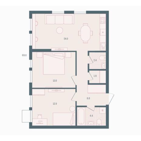 Вариант №5921, 2-комнатная квартира в жилом комплексе