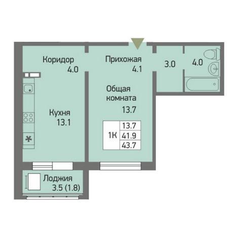 Вариант №3869, 1-комнатная квартира в жилом комплексе Акварельный 3.0