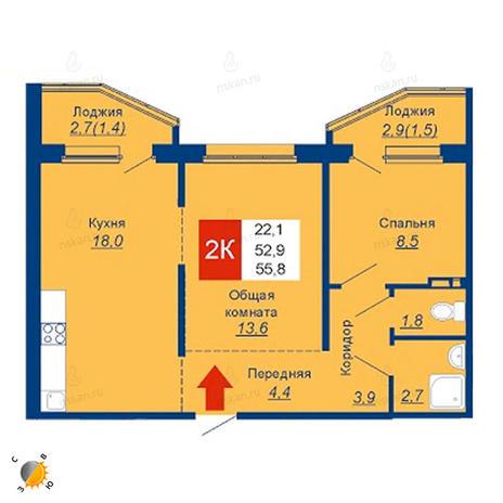 Вариант №2528, 3-комнатная квартира в жилом комплексе Акварельный