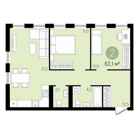 Вариант №2994, 3-комнатная квартира в жилом комплексе Дом на Садовой