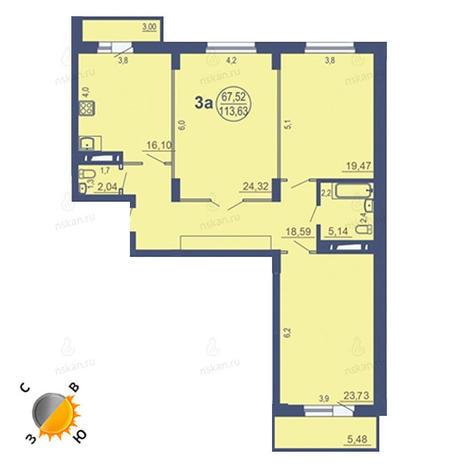 Вариант №1686, 3-комнатная квартира в жилом комплексе На Зыряновской