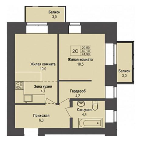 Вариант №3498, 2-комнатная квартира в жилом комплексе