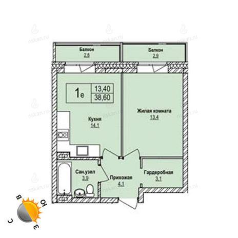 Вариант №1233, 1-комнатная квартира в жилом комплексе