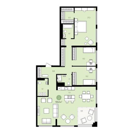 Вариант №5531, 5-комнатная квартира в жилом комплексе