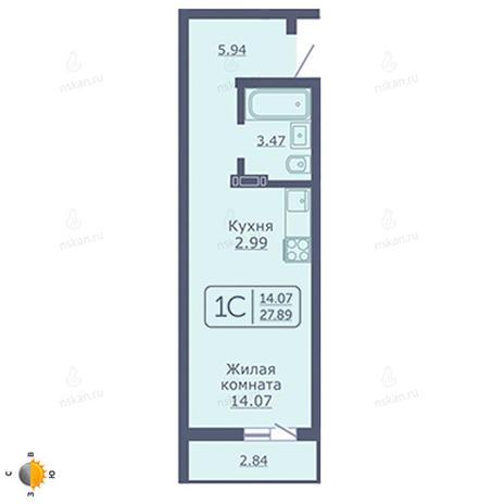 Вариант №2050, 1-комнатная квартира в жилом комплексе