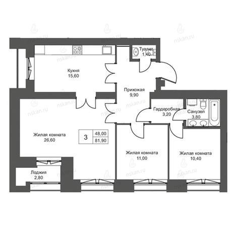 Вариант №2755, 4-комнатная квартира в жилом комплексе