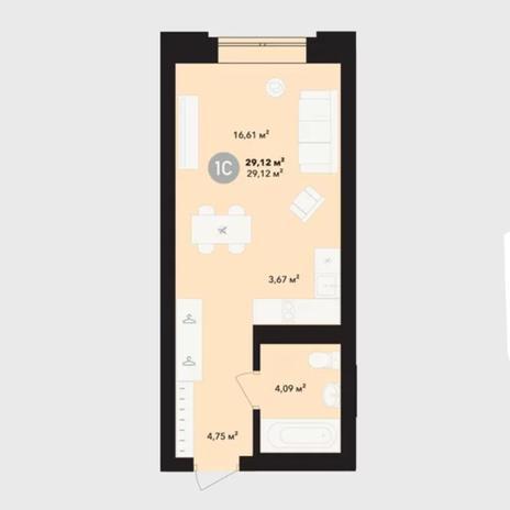 Вариант №5233, 1-комнатная квартира в жилом комплексе