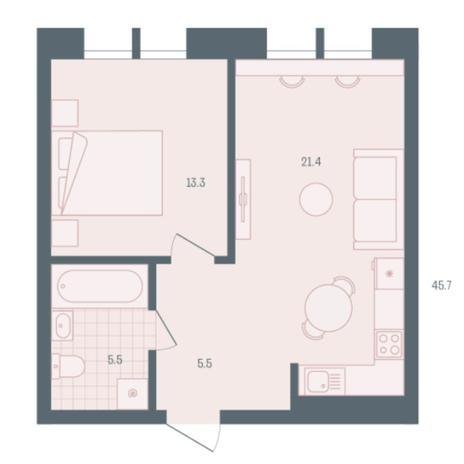 Вариант №5910, 1-комнатная квартира в жилом комплексе Родники