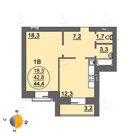 Вариант №1567, 1-комнатная квартира в жилом комплексе Свобода
