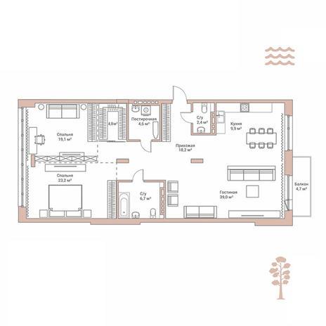 Вариант №2890, 3-комнатная квартира в жилом комплексе