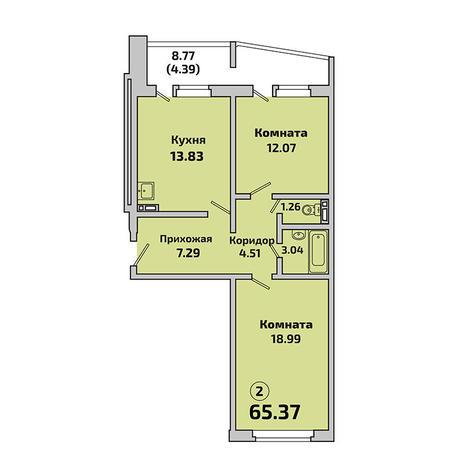 Вариант №3399, 2-комнатная квартира в жилом комплексе Родники