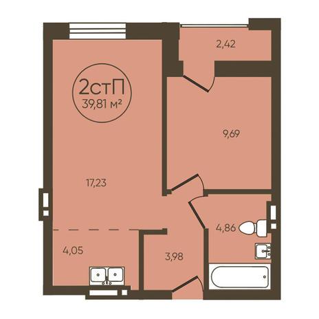 Вариант №3624, 2-комнатная квартира в жилом комплексе