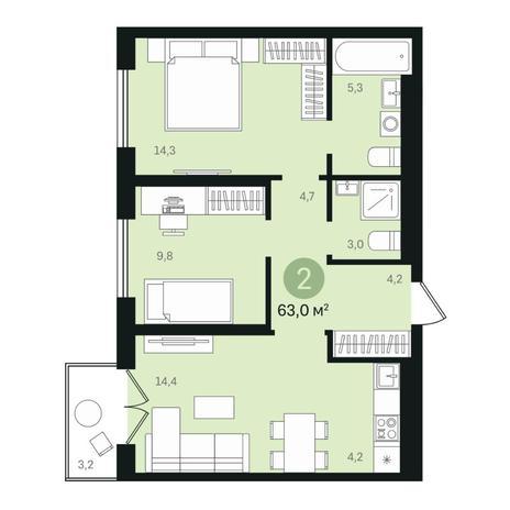 Вариант №6376, 3-комнатная квартира в жилом комплексе
